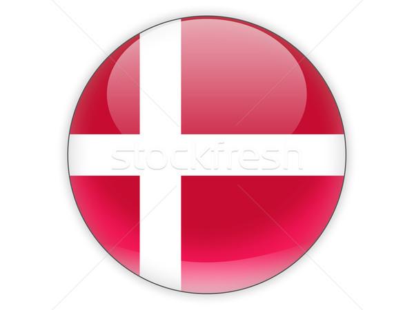Ikon bayrak Danimarka yalıtılmış beyaz seyahat Stok fotoğraf © MikhailMishchenko