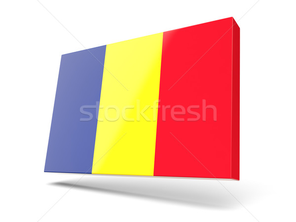 Piazza icona bandiera Romania isolato bianco Foto d'archivio © MikhailMishchenko