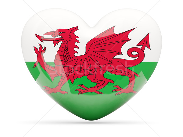 Heart shaped icon with flag of wales Stock photo © MikhailMishchenko