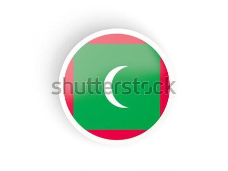 Matrica zászló Maldív-szigetek izolált fehér utazás Stock fotó © MikhailMishchenko
