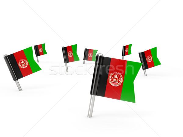 Kare bayrak Afganistan yalıtılmış beyaz ülke Stok fotoğraf © MikhailMishchenko