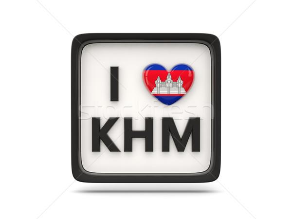Amor Camboja assinar isolado branco bandeira Foto stock © MikhailMishchenko