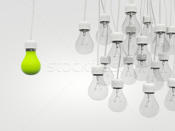 Yeşil ampul düzenli ampuller ışık beyaz Stok fotoğraf © MikhailMishchenko