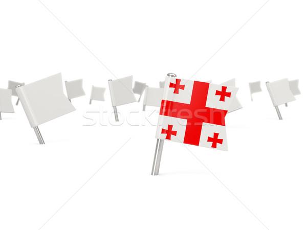 квадратный Pin флаг Грузия изолированный белый Сток-фото © MikhailMishchenko