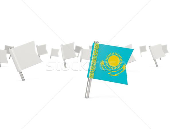 Platz Pin Flagge Kasachstan isoliert weiß Stock foto © MikhailMishchenko