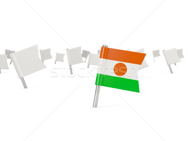 квадратный Pin флаг Нигер изолированный белый Сток-фото © MikhailMishchenko