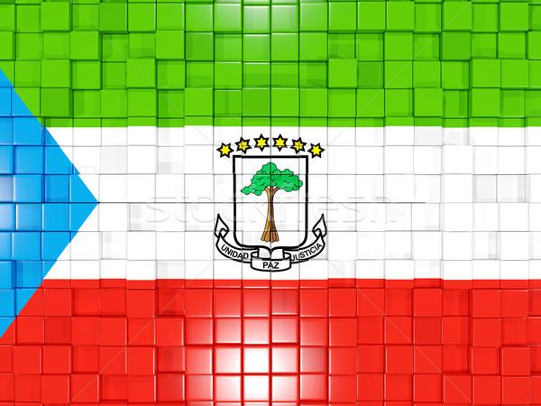 Praça bandeira Guiné Equatorial 3D mosaico Foto stock © MikhailMishchenko