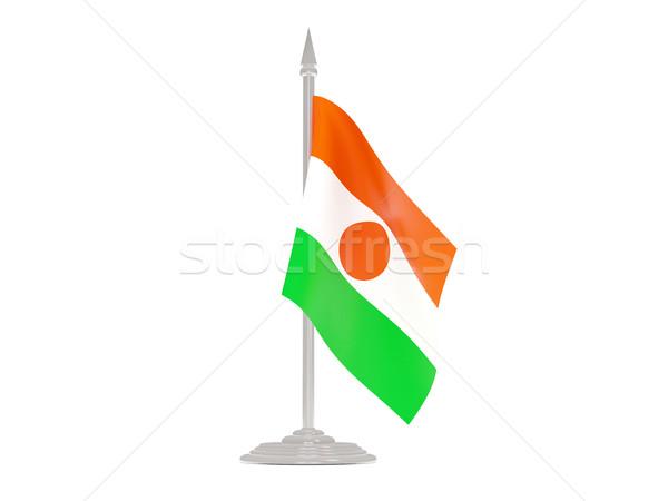 Foto stock: Bandeira · Níger · mastro · de · bandeira · 3d · render · isolado · branco