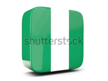 Praça ícone bandeira Nigéria ilustração 3d isolado Foto stock © MikhailMishchenko