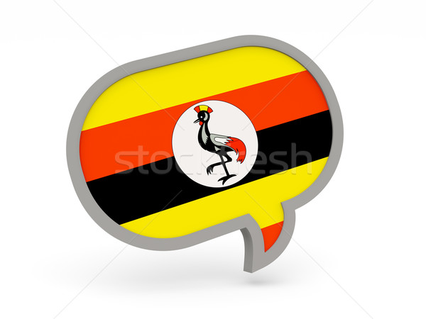Chat icône pavillon Ouganda isolé blanche Photo stock © MikhailMishchenko