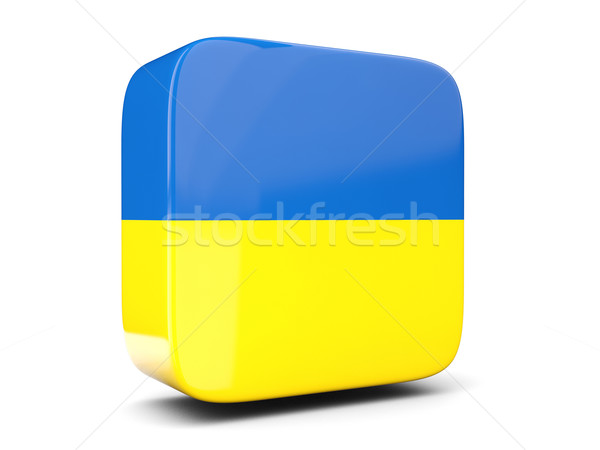 Square icon with flag of ukraine square. 3D illustration Stock photo © MikhailMishchenko