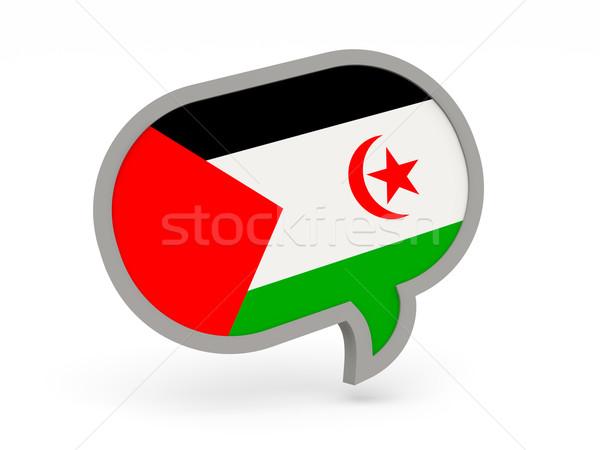 Chat icon with flag of western sahara Stock photo © MikhailMishchenko