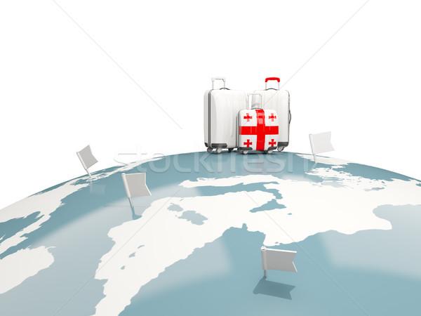 Stockfoto: Bagage · vlag · drie · zakken · top · wereldbol