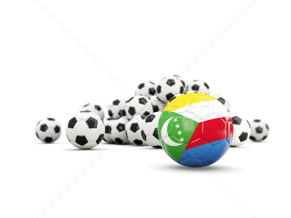 Football with flag of comoros isolated on white Stock photo © MikhailMishchenko