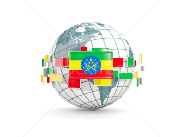 Globe with flag of ethiopia isolated on white Stock photo © MikhailMishchenko