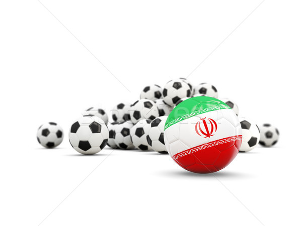 Stock photo: Football with flag of iran isolated on white