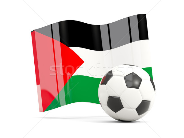 Stock photo: Football with waving flag of palestinian territory isolated on w