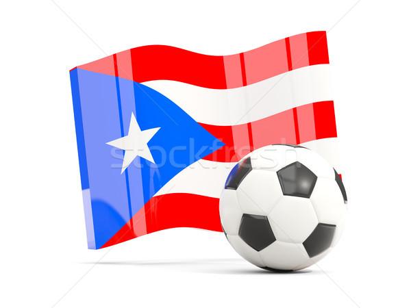Football with waving flag of puerto rico isolated on white Stock photo © MikhailMishchenko