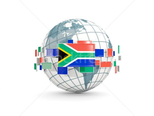 Wereldbol vlag zuiden afrika geïsoleerd witte Stockfoto © MikhailMishchenko