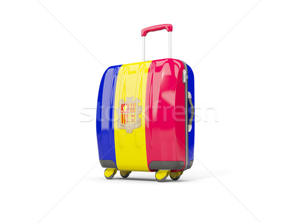 Luggage with flag of andorra. Suitcase isolated on white Stock photo © MikhailMishchenko