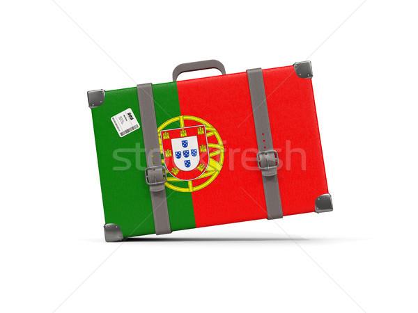荷物 フラグ ポルトガル スーツケース 孤立した 白 ストックフォト © MikhailMishchenko