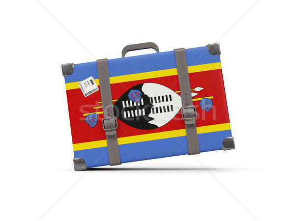 Bagażu banderą Suazi walizkę odizolowany biały Zdjęcia stock © MikhailMishchenko