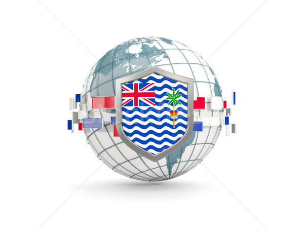 Globe and shield with flag of british indian ocean territory iso Stock photo © MikhailMishchenko