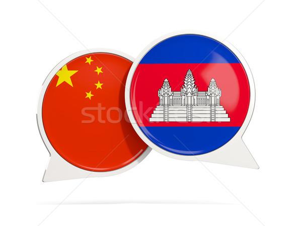 Conversar bubbles China Camboja isolado branco Foto stock © MikhailMishchenko