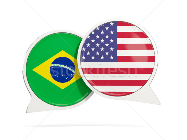 Chat Blasen Brasilien USA isoliert weiß Stock foto © MikhailMishchenko