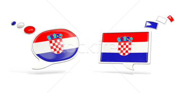 Kettő chat ikonok zászló Horvátország tér Stock fotó © MikhailMishchenko