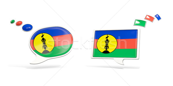 Two chat icons with flag of new caledonia Stock photo © MikhailMishchenko