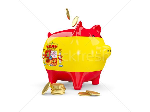 жира Piggy Bank Испания деньги изолированный белый Сток-фото © MikhailMishchenko