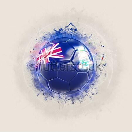 Futball lángok zászló Fidzsi-szigetek fekete 3d illusztráció Stock fotó © MikhailMishchenko