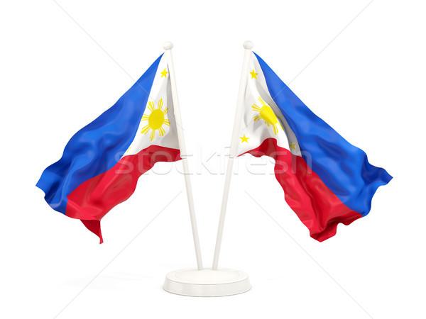 2 フラグ フィリピン 孤立した 白 ストックフォト © MikhailMishchenko