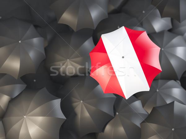 Guarda-chuva bandeira Peru topo preto guarda-chuvas Foto stock © MikhailMishchenko