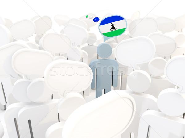 человека флаг Лесото толпа 3d иллюстрации белый Сток-фото © MikhailMishchenko