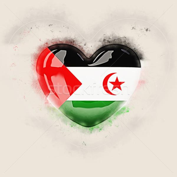 Hart vlag westerse sahara grunge 3d illustration Stockfoto © MikhailMishchenko