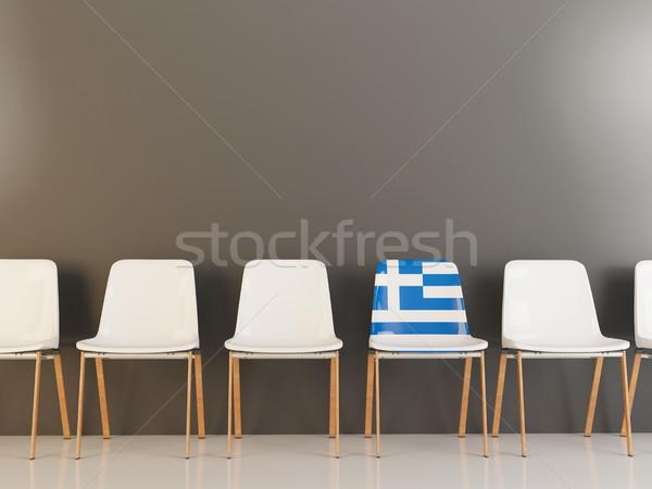 Председатель флаг Греция белый стульев Сток-фото © MikhailMishchenko