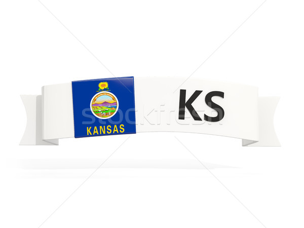 kansas state flag on banner with postal abbreviation isolated on Stock photo © MikhailMishchenko