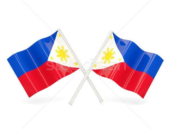 Bandeira Filipinas dois ondulado bandeiras isolado Foto stock © MikhailMishchenko