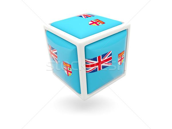 Zászló Fidzsi-szigetek kocka ikon izolált fehér Stock fotó © MikhailMishchenko