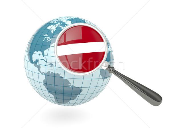 Ampliada bandera Letonia azul mundo aislado Foto stock © MikhailMishchenko