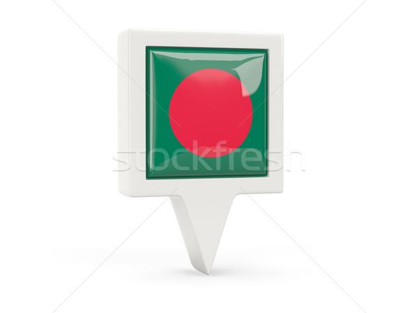 Tér zászló ikon Banglades izolált fehér Stock fotó © MikhailMishchenko