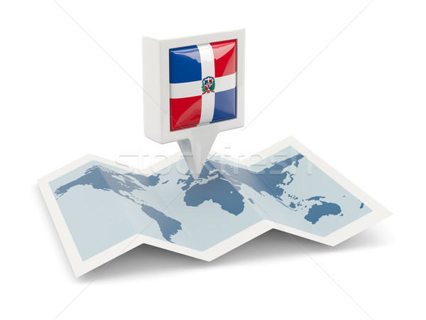 Square pin with flag of dominican republic on the map Stock photo © MikhailMishchenko