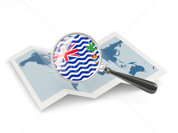 Magnified flag of british indian ocean territory with map Stock photo © MikhailMishchenko