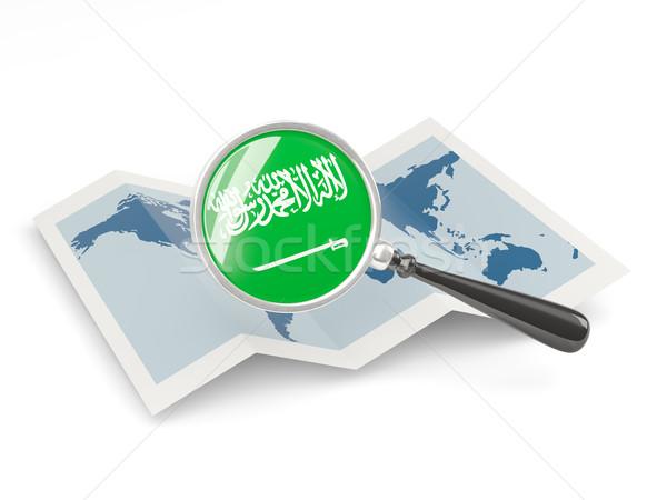 Magnified flag of saudi arabia with map Stock photo © MikhailMishchenko