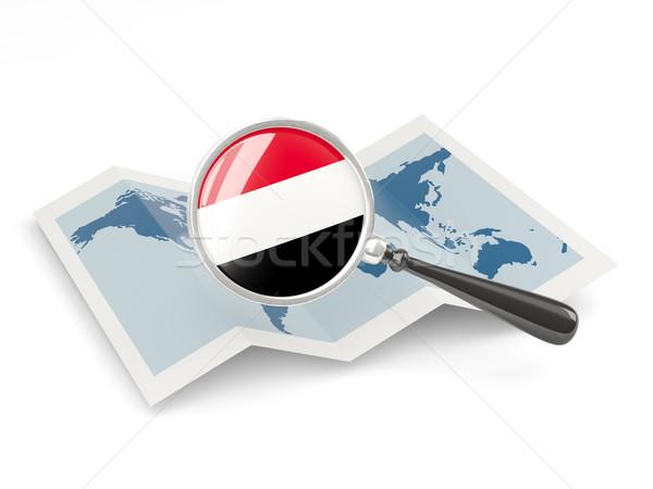 Bandeira Iémen mapa viajar Foto stock © MikhailMishchenko