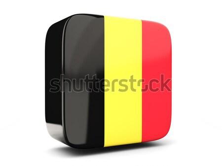 Praça ícone bandeira Bélgica reflexão branco Foto stock © MikhailMishchenko