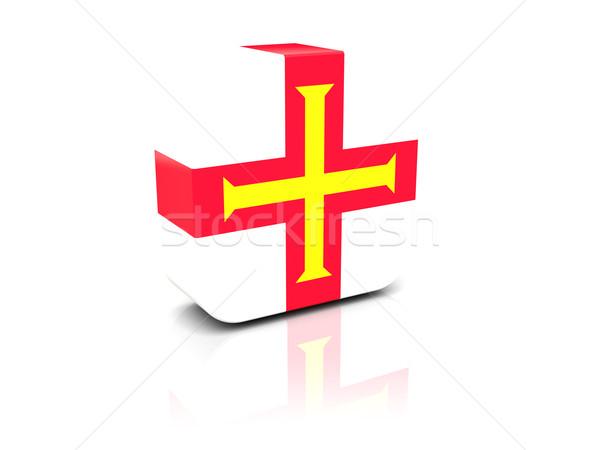 Square icon with flag of guernsey Stock photo © MikhailMishchenko