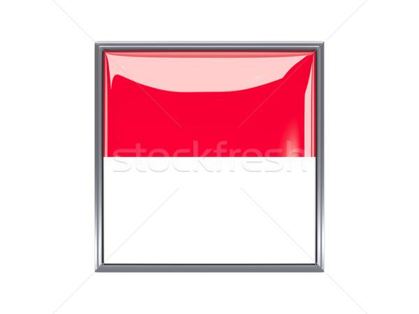 квадратный икона флаг Индонезия металл кадр Сток-фото © MikhailMishchenko